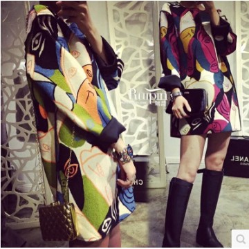 TE1070BQF European fashion colorful face splicing fashion dress