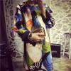 TE1070BQF European fashion colorful face splicing fashion dress