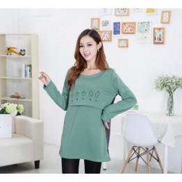 TE2452YZ Print large size maternity dress green