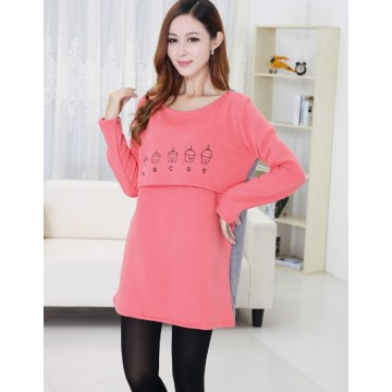 TE2452YZ Print large size maternity dress red