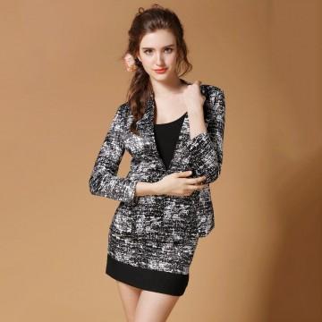 TE2515HY Korean fashion no button slim coat with skirt black