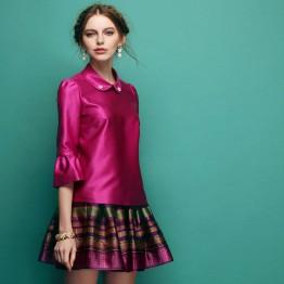 TE2518HY Europe fashion elegant three quarter bubble sleeve tops with skirt