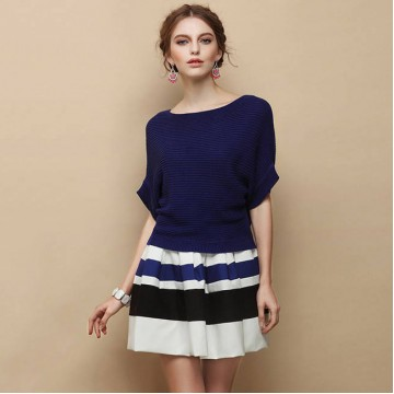 TE2536HY New style England style loose batwing sleeve knitting tops with stripes skirt