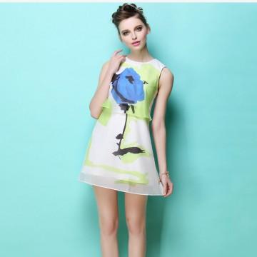 TE2566HY  Europe fashion chiffon print sleeveless dress