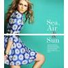TE2586HY Europe fashion three quarter sleeve embroidery a-line dress blue