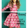 TE2586HY Europe fashion three quarter sleeve embroidery a-line dress rose