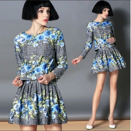 TE2591HY European fashion lattice flowers print long sleeve tops with pantskirt