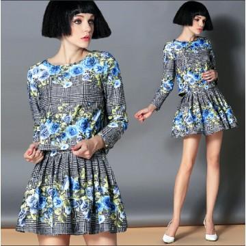 TE2591HY European fashion lattice flowers print long sleeve tops with pantskirt