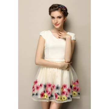 TE2606HY European fashion embroidery organza slim dress