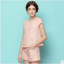 TE3326CMN Debutant jacquard weave tops and shorts suit