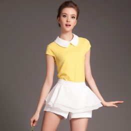 TE3331CMN New style doll collar tops and bouffancy shorts suit