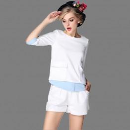 TE3343CMN Europe fashion slim pocket tops with shorts