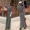 TE6012 Temperament shoulder pad stripes buttons maxi dress
