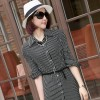 TE6012 Temperament shoulder pad stripes buttons maxi dress