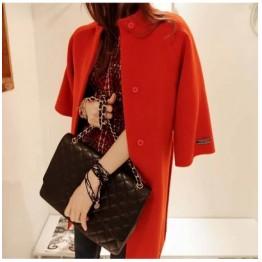 TE8328YFSS Stand collar loose long woolen coat