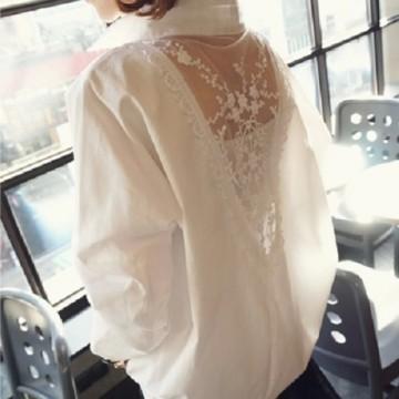TE8622LYL Korean fashion lace hollow out splicing loose blouse