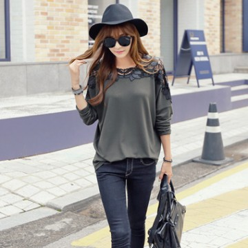 TE9035ATSS Lace hollow out bowknot back loose T-shirt
