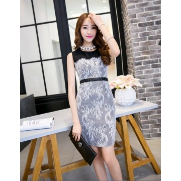 TE9068WMSS  Europe fashion lace splicing sleeveless dress black