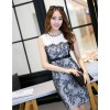 TE9068WMSS Europe fashion lace splicing sleeveless dress white
