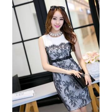 TE9068WMSS Europe fashion lace splicing sleeveless dress white