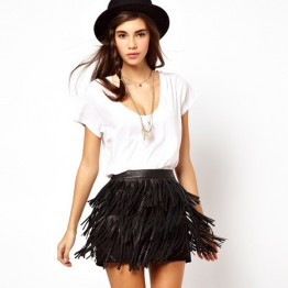 TE010HES Europe fashion PU tassel tight hip skirt