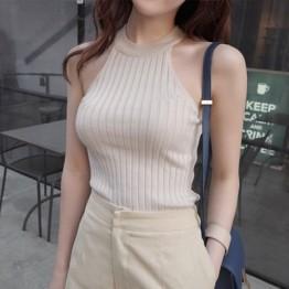 TE012SDHS Korean fashion casual knitt8ng pure color halter sleeveless tops