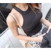TE012SDHS Korean fashion casual knitt8ng pure color halter sleeveless tops