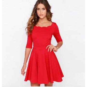 TE018HES Europe fashion sexy petals neckline half sleeve dress