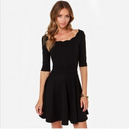 TE018HES Europe fashion sexy petals neckline half sleeve dress