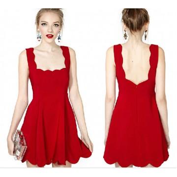 TE019HES Europe fashion sexy petals sleeveless dress