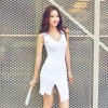 TE019SDHS Summer new style pure color model irregular sleeveless dress