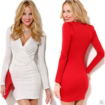 TE021HES Europe fashion night club slim waist long sleeve dress