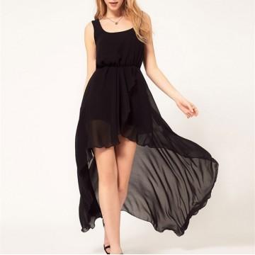 TE022HES Europe fashion irregular hem elegant chiffon dress