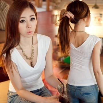 TE027BKZC China Wholesale Korean Fashion Simple V-neck Casual T-shirt