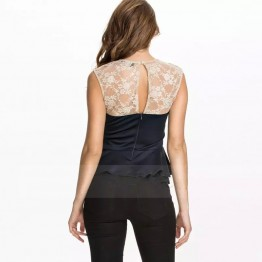 TE035HES Europe fashion hollow out lace splicing forked tail hem slim tops dark blue