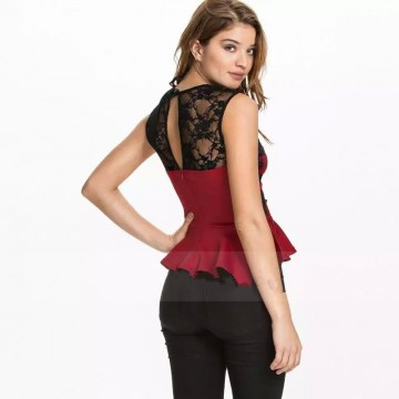 TE035HES Europe fashion hollow out lace splicing forked tail hem slim tops red