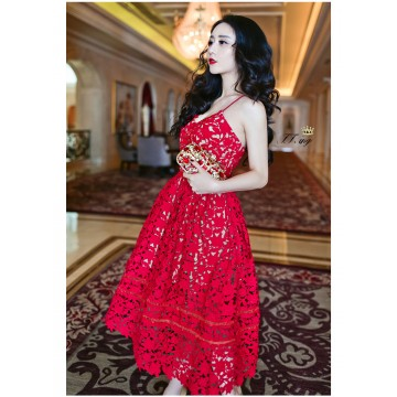 TE8811NZY Hot sale lace gallus long dress