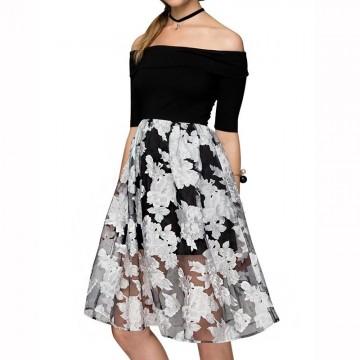 TE037HES Europe fashion elegant off shoulder boat neck formal dress
