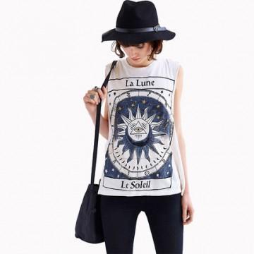 TE050HES Europe fashion print sleeveless T-shirt