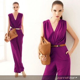 TE052HES Europe fashion deep v-neck sleeveless jumpsuit