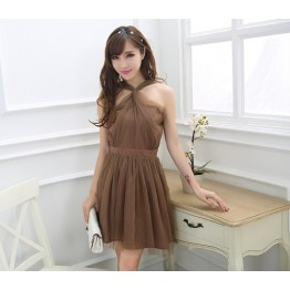 TE0780 Korean fashion grenadine twist halter backless dress