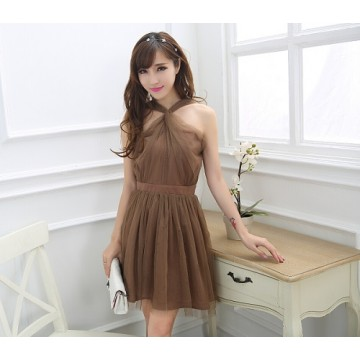 TE0780 Korean fashion grenadine twist halter backless dress