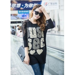 TE10022TT Letters Printing Lace Shoulder Large Size T-shirt