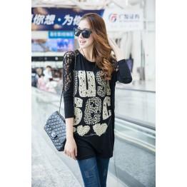 TE10022TT Letters Printing Lace Shoulder Large Size T-shirt