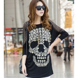 TE10023TT Korean Style Skull Printing Hollow out Shoulder Large Size T-shirt