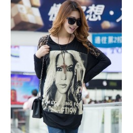 TE10025TT Portrait Printing Lace Shoulder Large Size T-shirt