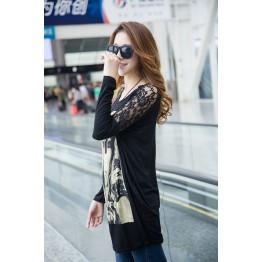 TE10025TT Portrait Printing Lace Shoulder Large Size T-shirt