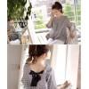 TE1016GJWL Lacing back v-neck loose checks blouse