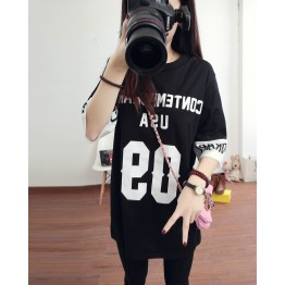 TE1075 New style splicing letter print loose long T-shirt