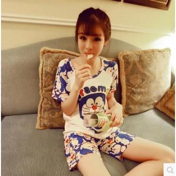 TE1134DD Doraemon cartoon print short sleeve t-shirt with short pajamas